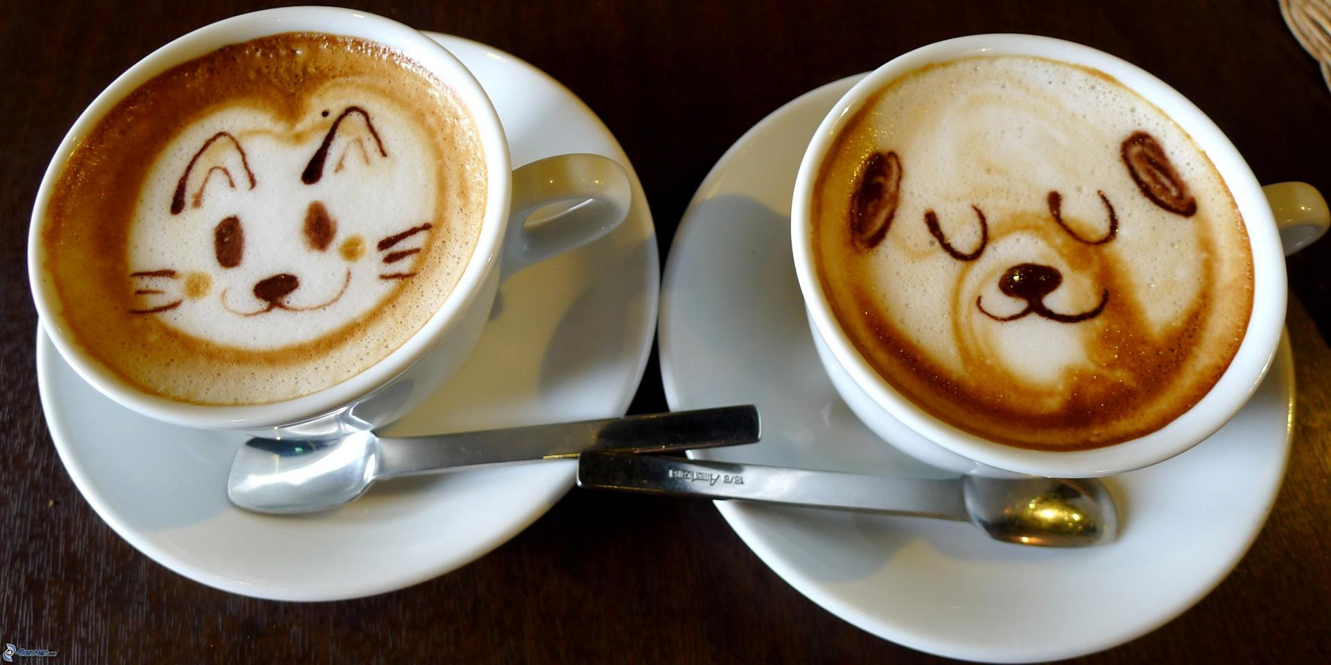 Tasse de cafe latte art chat ours 208457